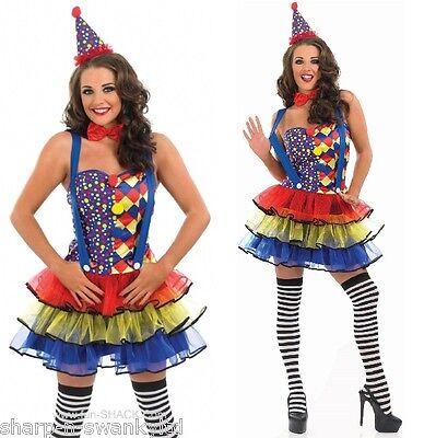 Damen Sexy Clown Zirkus Karneval Kostüm Verkleidung Outfit UK 8-26 Übergröße (Zirkus Kostüme Uk)