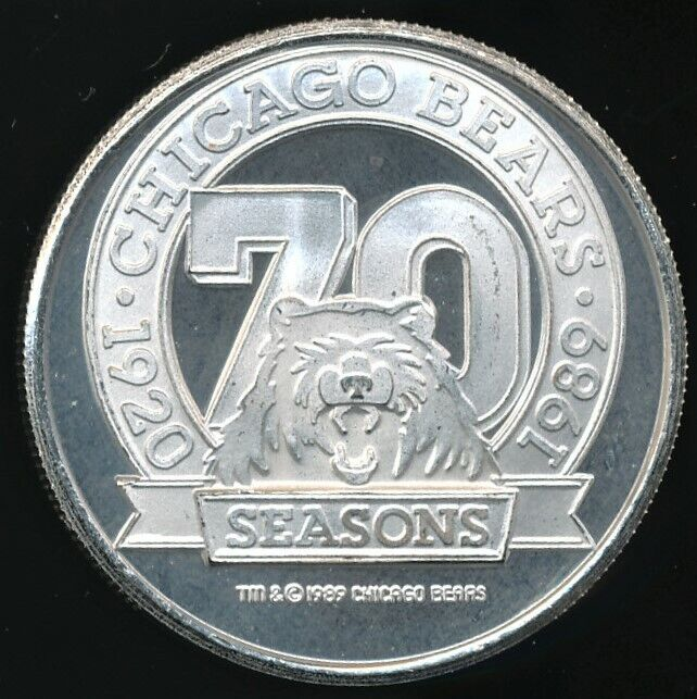 1989 chicago bears 70th season 1 oz. .999 proof-like silver round limited ed.