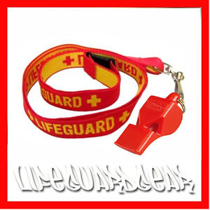 RED LIFEGUARD WHISTLE CLASSIC 40 WITH WOVEN RED / YELLOW LIFE GUARD LANYARD FOX