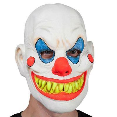 Adult Creepy Neon UV Glow in the Dark Clown Mask Fancy Dress Halloween Accessory ()