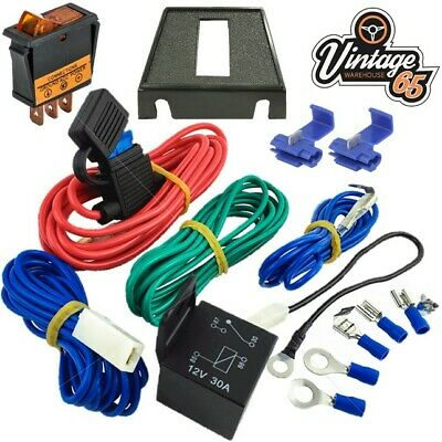 Classic Car Spot Light Fog Lamp Wiring Kit 12v 30 Amp Relay Illuminated Switch
