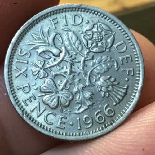 1966 Great Britain 6 pence sixpence  The Wedding Coin