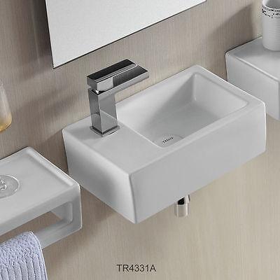 Gäste WC kleines Waschbecken Waschtisch Handwaschbecken Wandmontage 37 x 23 cm