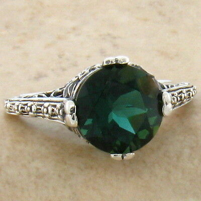 2.5 CT SIM EMERALD SOLITAIRE .925 STERLING ANTIQUE DESIGN SILVER RING SZ 10,#756
