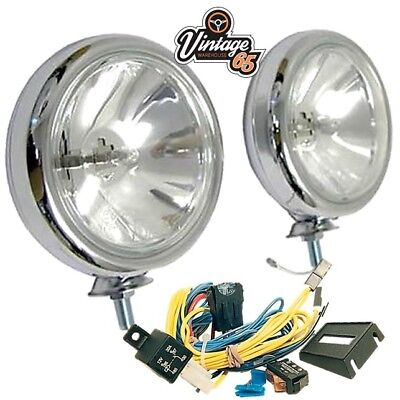 Classic Car New Front Chrome 55w Spot Lights Driving Lamps Pair + Wiring Kit