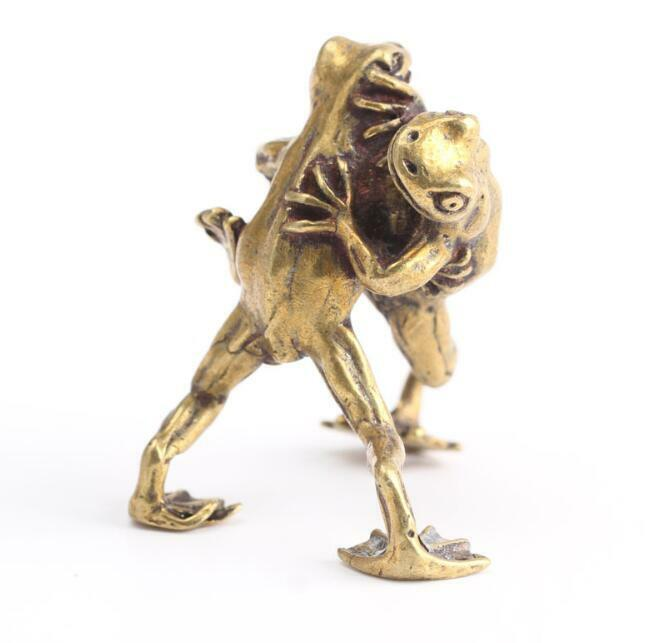 Chinese Collection Asian Brass Wrestling Frog Exquisite fengshui statue Gift