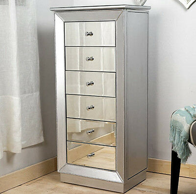 Mirrored Jewelry Armoire Cabinet Tall Storage Chest Organizer Stand Mirror Box