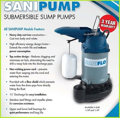 Saniflo Sanipump 13 Hp Submersible Sump Pump