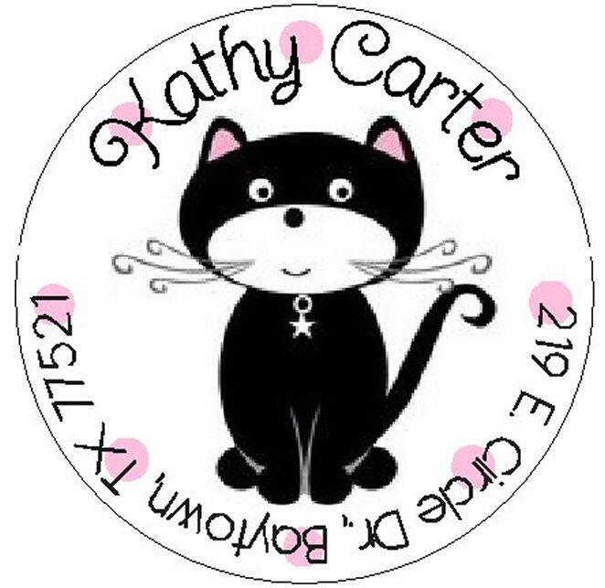CUTE BLACK CAT -  Round Return Address Labels
