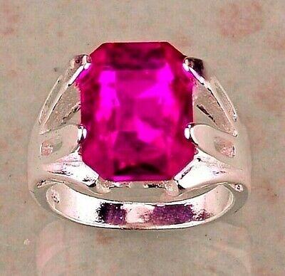 NEUF_Taille 52_ARGENT 925 Plaqué_Topaze Rose Fuchia_Bague Femme_Silver PL Ring 6
