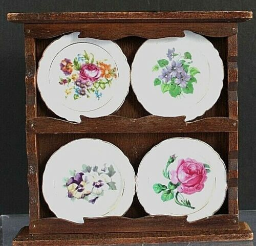 Vintage Miniature Floral Plates Butter Pats Old Japan in Wooden Hanging Rack