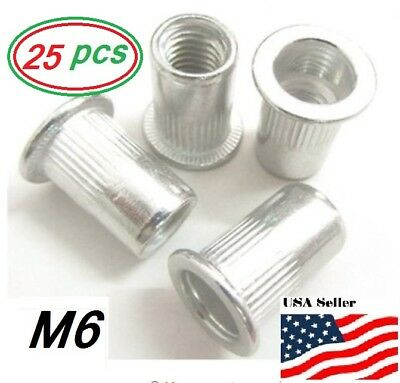 Aluminum Rivet Nut Rivnut Insert Nutsert - M6x1.0 - 25 Pcs