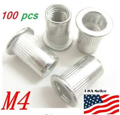 100 Pcs M4 Aluminum Rivnut Rivet Nuts Insert 4mm