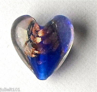 5 x Blue & Gold Sand Lampwork Glass Murano Style Heart Beads - 20mm G9
