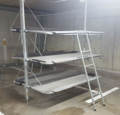 Bunkerbett Bunkerbetten 6 Personen Luftschutzbunker Feldbett mit Leitern,...