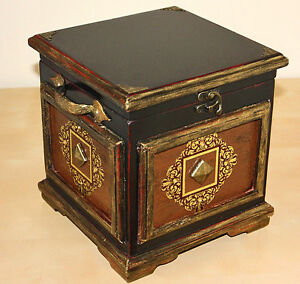 Two Rustic Antique Style Wooden Treasure Boxes/ Trunks/ Pirate