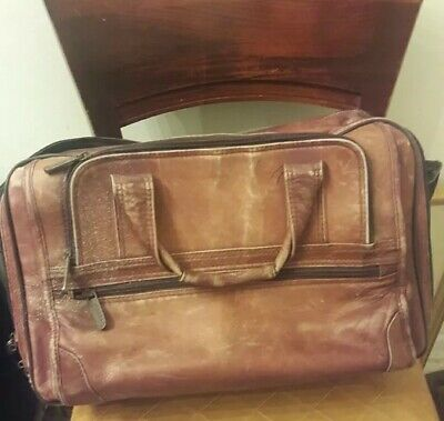"""👉AVENUES AMERICA 18"""" Brown Leather Laptop Briefcase Attache Free Shipping! for sale  Shipping to India"""