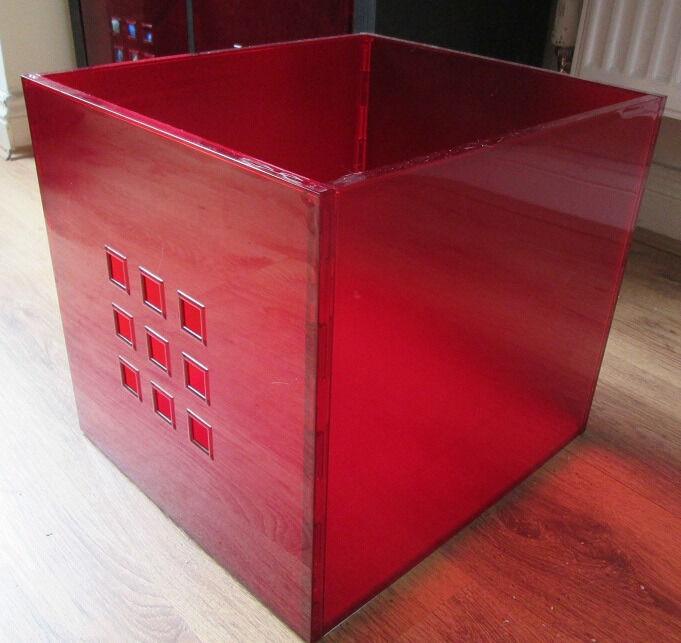 6 x red storage boxes lekman storage boxes ikea storage. Black Bedroom Furniture Sets. Home Design Ideas