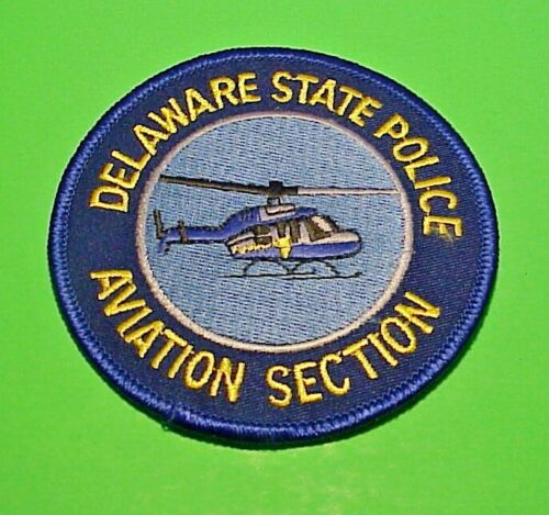 """DELAWARE STATE POLICE  AVIATION SECTION HELICOPTER  3 1/2""""  POLICE PATCH"""