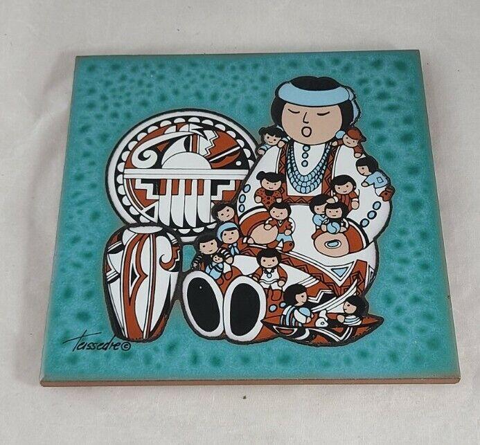 Vintage Navajo Native American Storyteller Tile Teissedre
