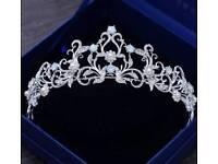 Tiara, opalite, silver metal, pearl, diamante