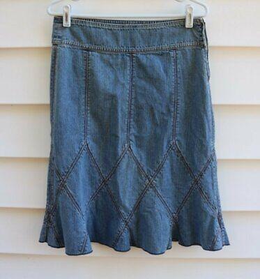 DKNY Jeans Denim Skirt Womens Size 4 Blue Jean Flounce Hem Side Zip