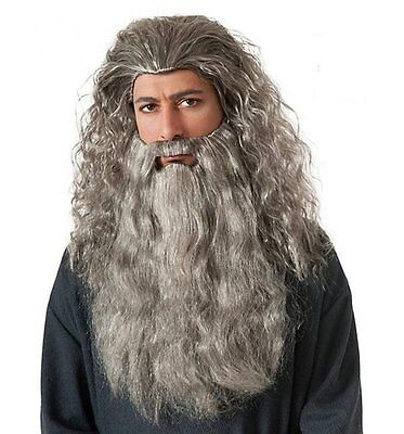 The Hobbit Gandalf Beard Wig Set Costume Lord of the Rings Adult](Gandalf The Gray Costume)