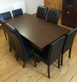 QUALITY SOLID WOOD DINING TABLE & CHAIRS & UNIT