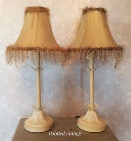 Pair of table lamps, table lamps, shabby chic lamps, vintage lamps