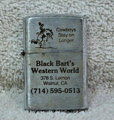Vintage Black Berts WESTERN WORLD Advertising Cigarette Lighter