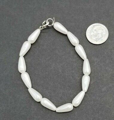 """Large Doll Necklace Pearl White Beads Elite Porcelain Doll Jewelry 7"""" Long"""