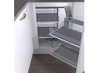 Symphony Magic Corner Chrome Arena Base Corner Pull-out for 900-1000mm cabinets - Right Hand
