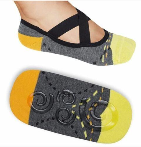 Lupo No Slip Crossover Yoga Pilates Barre Socks Large Fits 8.5 -11.5 38-41 Gray