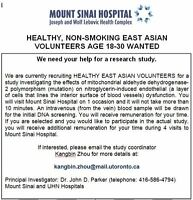 Paid Participation in Clinical Studies in Mount Sinai Hospital