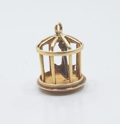 Vintage Unique Mid Century 14k Yellow Gold Bird Cage Charm Pendant