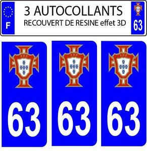 3 stickers plaque immatriculation auto doming 3d resine portugal fpf n 63 ebay. Black Bedroom Furniture Sets. Home Design Ideas
