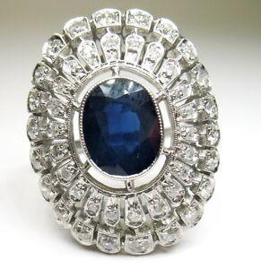 ANTIQUE-ART-DECO-PLATINUM-DIAMOND-SAPPHIRE-RING