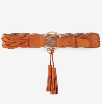 (Express Women's Belt Sz M Braided O Tassel Belt Tan/Gold Vegan)