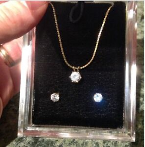 Set, Cubic Zirconia Necklace and Earrings