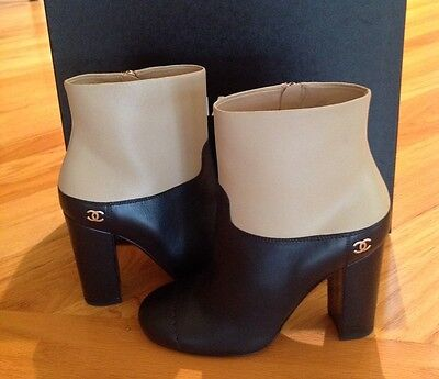 CHANEL Two Tone Leather Ankle Booties Boots Heels Shoes Black Beige SZ 36.5 BNIB