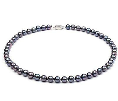 JYX AAA Round Bluish Purple 7-8mm Freshwater Pearl Necklace Women Jewelry 18
