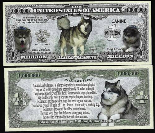 Lot of 500 BILLS - Alaskan Malamute Dog Bill Puppy & Adult Pics, Facts on Back