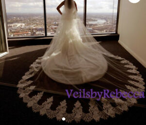 Cathedral wedding lace veil, 2 tiers wedding lace veil