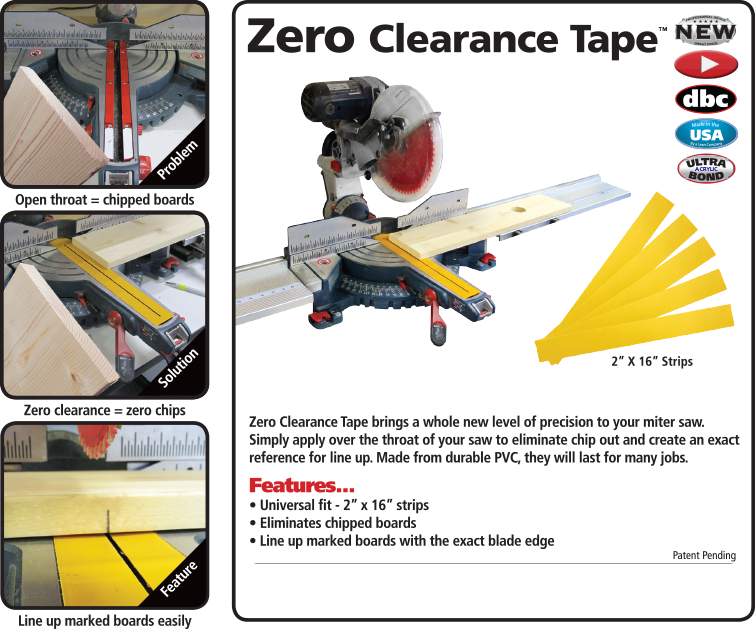 """FastCap Zero Clearance Tape, 5 Strips, 2"""" x 16"""", Made in USA"""