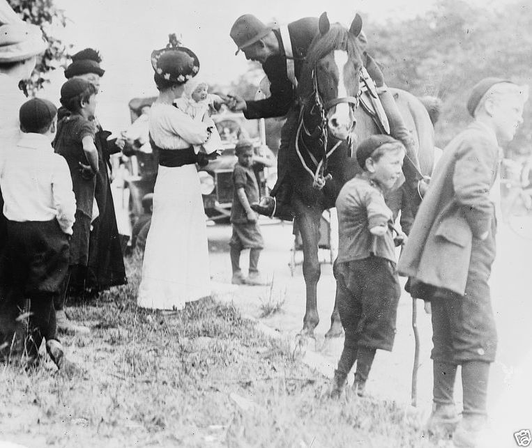 Canadian soldier says goodbye to family leaves for war World War I 8x10 Photo