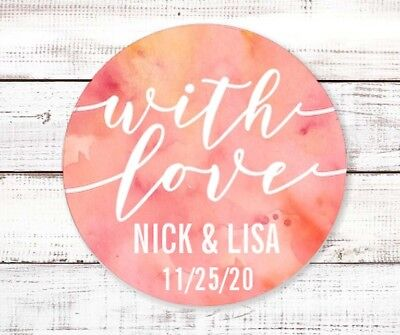 With Love Watercolor Round Personalized Bridal  Wedding Shower Sticker Labels (Love Wedding Shower)