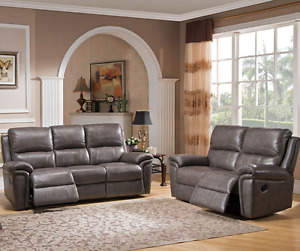 Monica genuine leather reclining sofa and love, stone grey, NEW