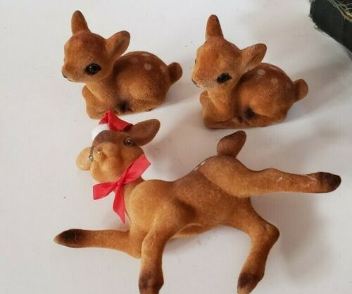 Lot of 3 Vintage Flocked Felt Deer - 2 Laying and 1 Ornament