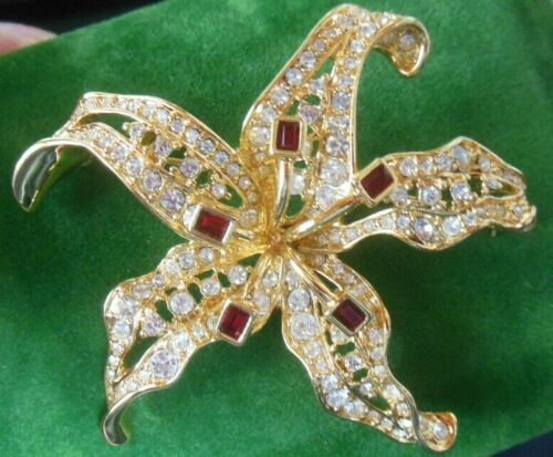 Vintage Signed NOLAN MILLER Lily Brooch W/ Faux Ruby Stones