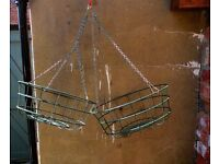 """16"""" x 2 - strong metal coated hanging baskets - long four chain attachments"""